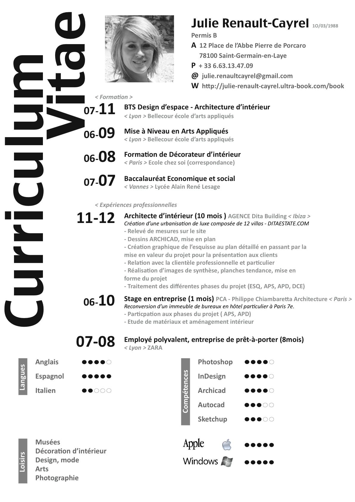 julie renault cayrel   news   curriculum vitae