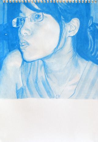 blue Ping, 2009, gouache sur papier, 38x26,3 cm