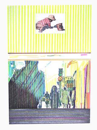 """cycle """"racontez-moi"""" 6, 2007, 45x32 cm, stylos et feutres sur papier"""