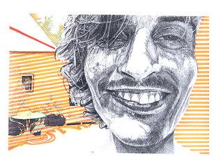 """cycle """"racontez-moi"""" 9, 2007, 45x32 cm, stylos et feutres sur papier"""