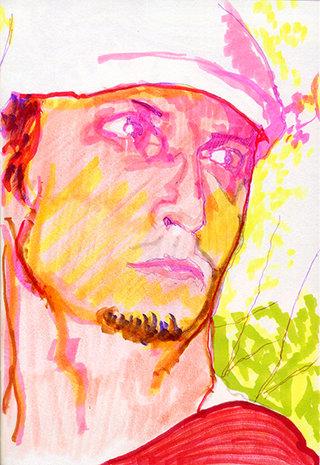 sans titre 6, 2009, feutre, stylo sur papier, 20,9x14,7 cm
