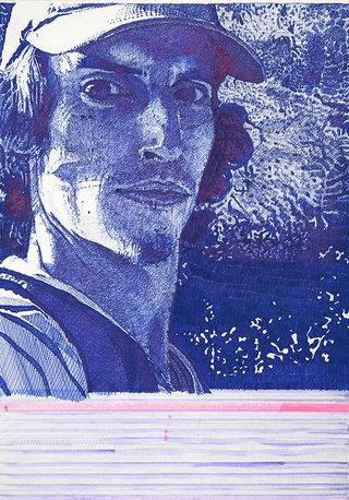 """""""sans titre"""", 2009, stylo et feutres sur papier,  29,7x21cm"""