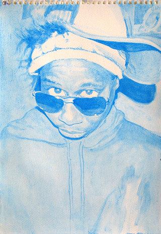 blue Tok, 2009, gouache sur papier, 38x26,3 cm