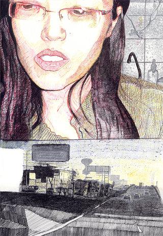 Ping, 2006, stylo sur papier, 45x32 cm