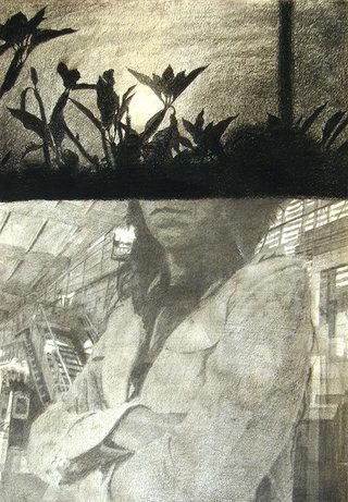 sans titre, 2011, pierre noire et crayon sur papier, 32x24 cm