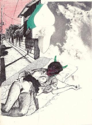 sans titre, 2017, stylos et crayons couleur sur papier,  26,7x19,5 cm