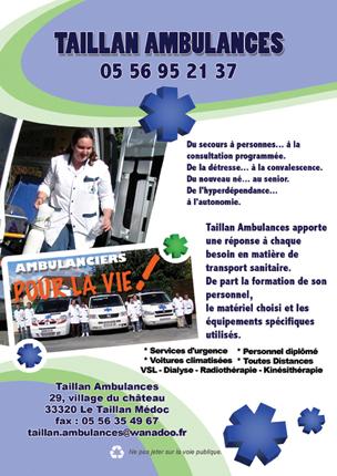 """Plaquettes publicitaires pour """"Taillan ambulances""""."""