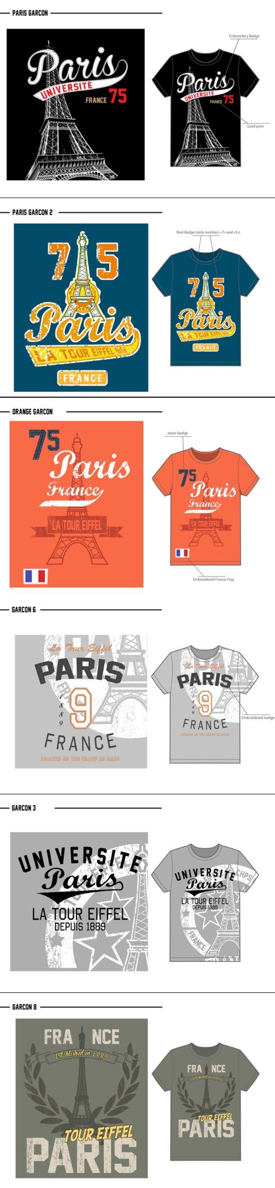 T-shirt Collection Garçons Ohlala (entreprise de souvenirs de Paris)