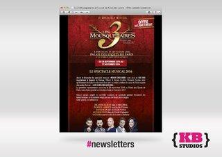 Les 3 mousquetaires, la comédie musicale. Newsletters par KB Studios Paris