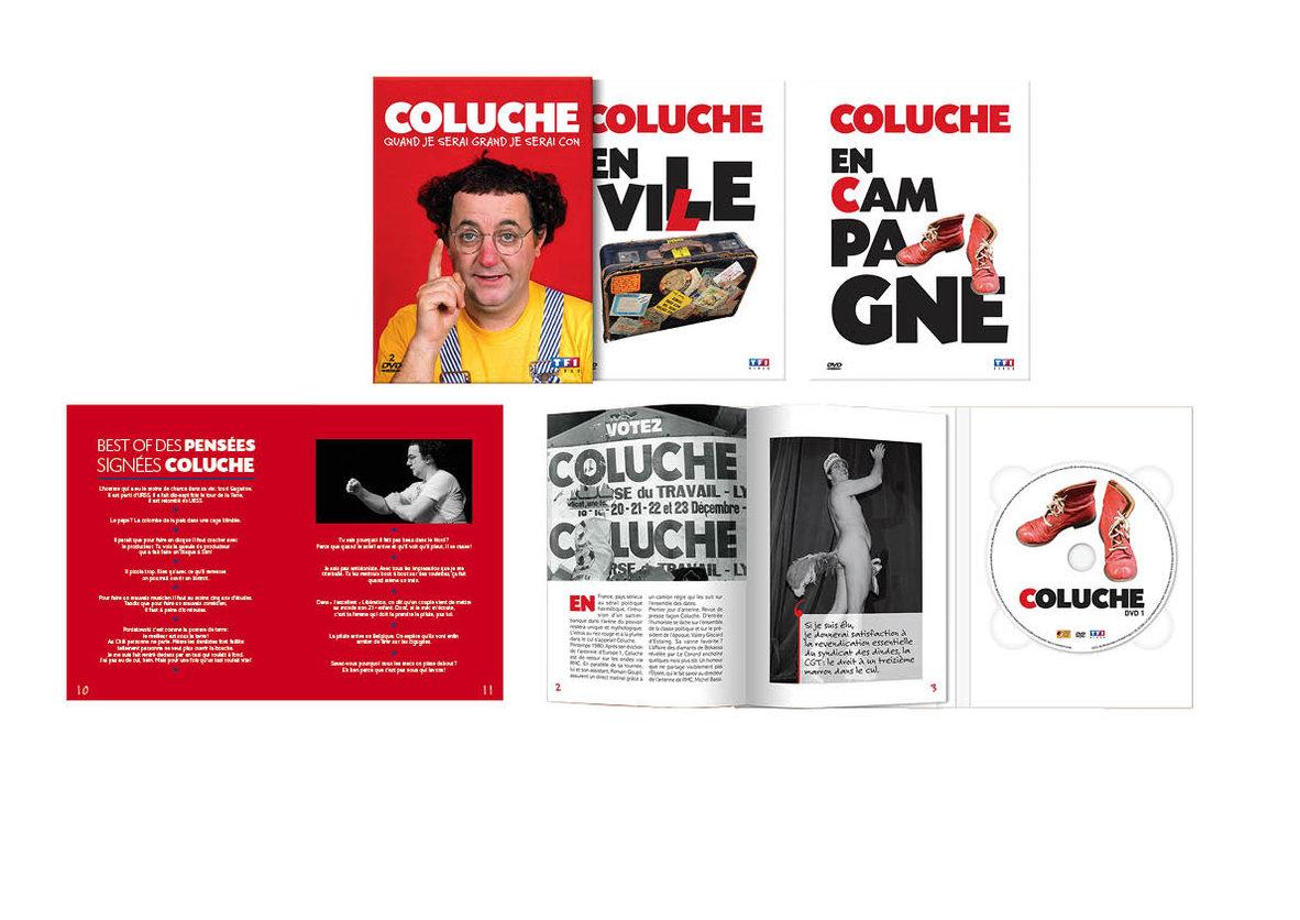 Livrets et DVD Coluche