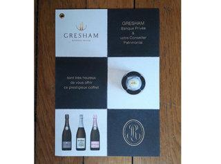 Carton présentation coffret cadeau champagne Roederer pour clients GRESHAM Banque Privée (Agence Arobace)