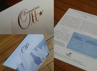 Carton présentation coffret cadeau vin Domaine Ott pour clients Legal and General (Agence Arobace)