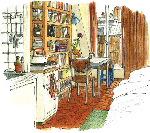 Lise herzog illustrations portfolio tourisme architecture for Acheter chambre de bonne a paris