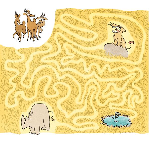 Illustration pour des jeux dans le magazine Mes Premiers J'aime Lire, 2014.