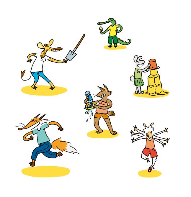 Extraits d'illustration pour le livre Expériences à la plage aux éditions Le Pommier, 2014.