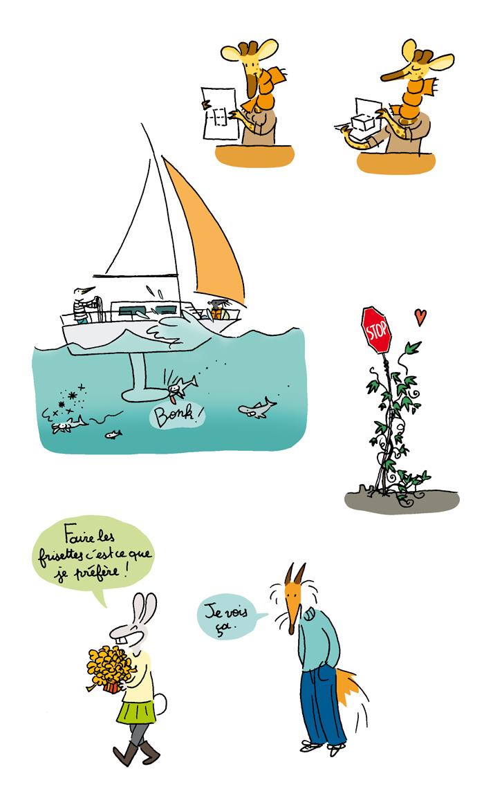 Extraits d'illustration pour le livre Expériences à Noël aux éditions Le Pommier, 2014.