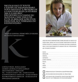 Invitation pour l'hôtel Le Kilimandjaro