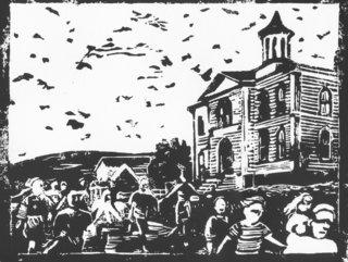 Les Oiseaux- A. Hitchcock  (Linogravure)