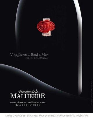 Annonce presse Malherbe (vins d'exception)