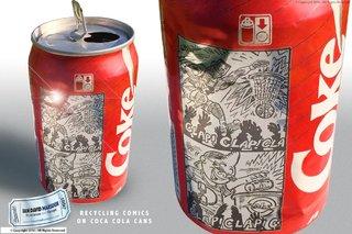 BD recyclage / tri imprime sur des canettes de Coca Cola