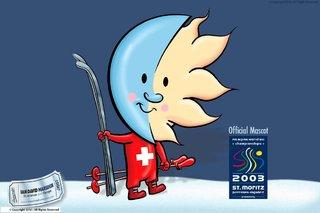Mascotte officielle du championnat du monde du ski 2003 a St Moritz