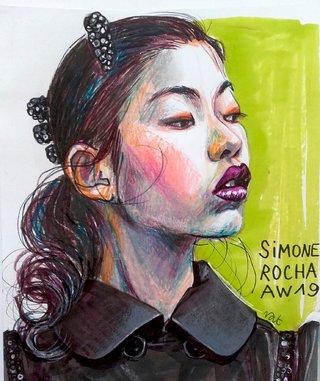 illustration  défilé Simone Rocha