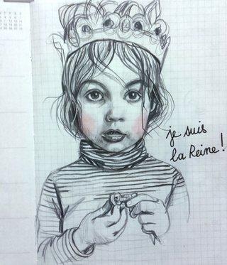 illustration au crayon noir et crayon de couleur