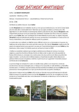 Fiche Bâtiment-Villa Monplaisir - Mathieu NIVOR