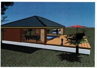 Projet Solarium  Habitation Martinique- Vue de côté Architecte 3D