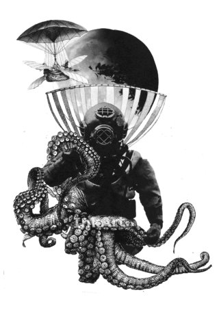 Tribute to Jules Verne (collage)