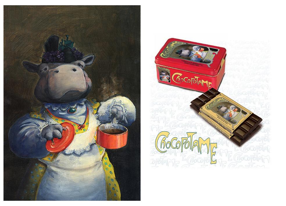 Chocopotame<br/><span>Huile sur Papier Madame Potame prépare toujours les meilleurs chocolats !</span>