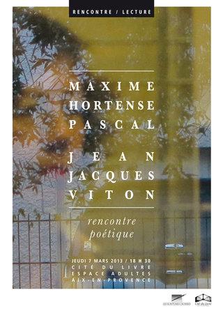 Rencontre avec Maxime Hortense Pascal ©Patrick Bédrines (2013)