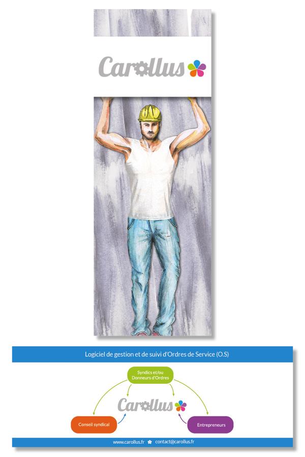 Carollus<br/><span>Flyer au format marque page pour la société Carollus.</span>