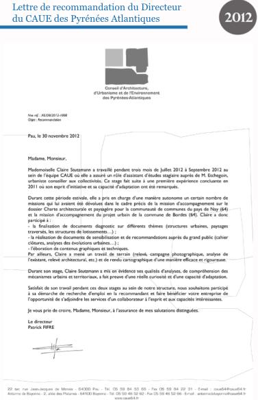 lettre de recommandation générale Book de projetRecommandations : Lettre de recommandation du  lettre de recommandation générale