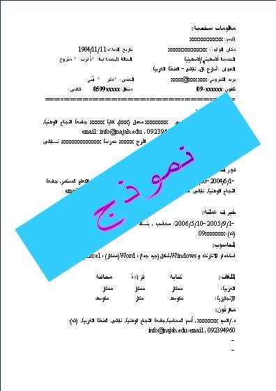 modele d u0026 39 un cv en arabe