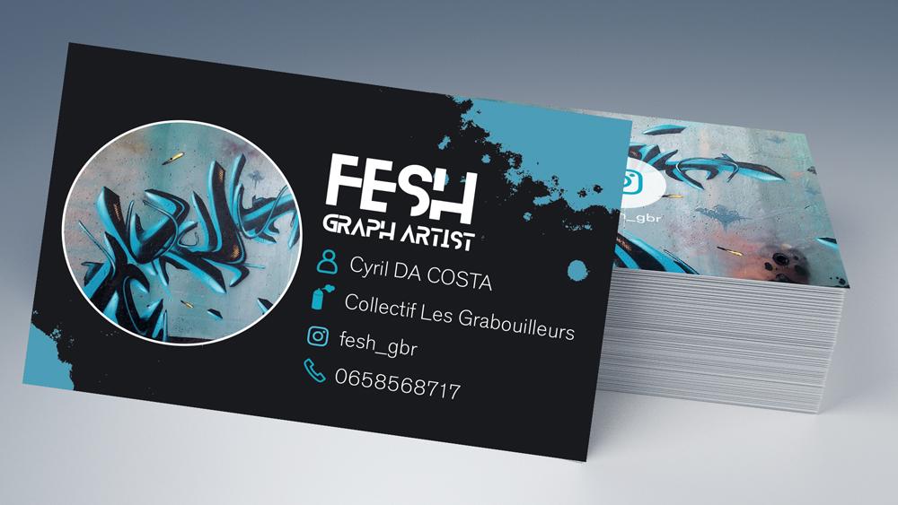 Carte de visite graffeur FESH by roxane chanpao graphiste à Tours