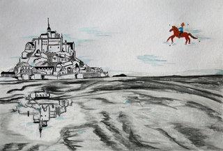 Vogue au-dessus du Mont Saint-Michel