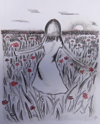 Vue de dos - Dans les champs