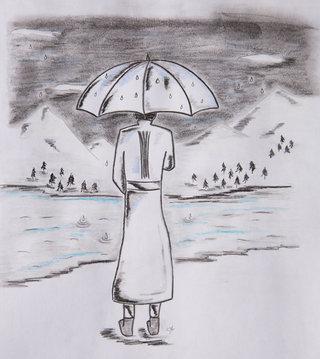 Vue de dos - Pensif sous la pluie