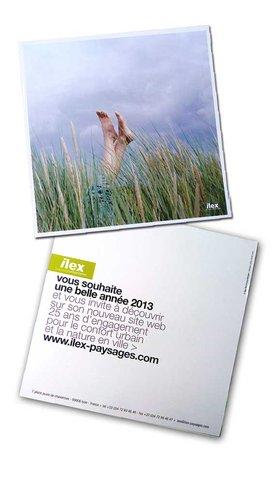 """DESIGN GRAPHIQUE pour ILEX / PAYSAGES ET URBANISME > carte de v""""ux 2013"""