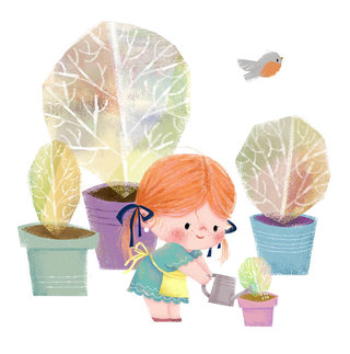 little girl and plants