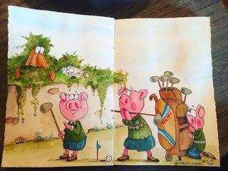 Aquarelle les 3 petits cochons