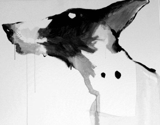 67.LE CHIEN # , acrylique et encre sur toile, 120X120 cm