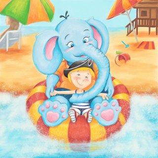 Tany et bébé éléphant à la plage