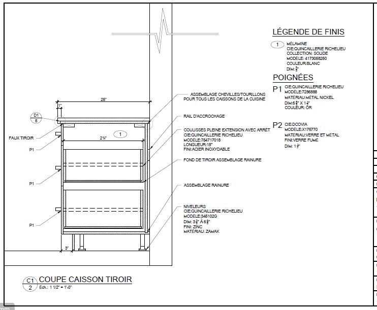 Caisson tiroir cuisine simple caisson avec tiroir caisson for Plan technique cuisine