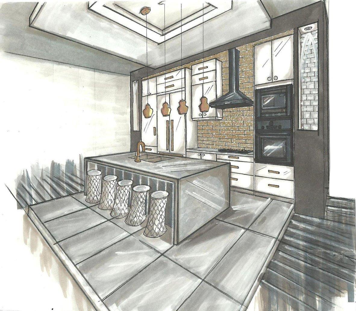 perfect cuisine dessiner une cuisine en perspective ultrabook de portfolio esquisses with dessin. Black Bedroom Furniture Sets. Home Design Ideas