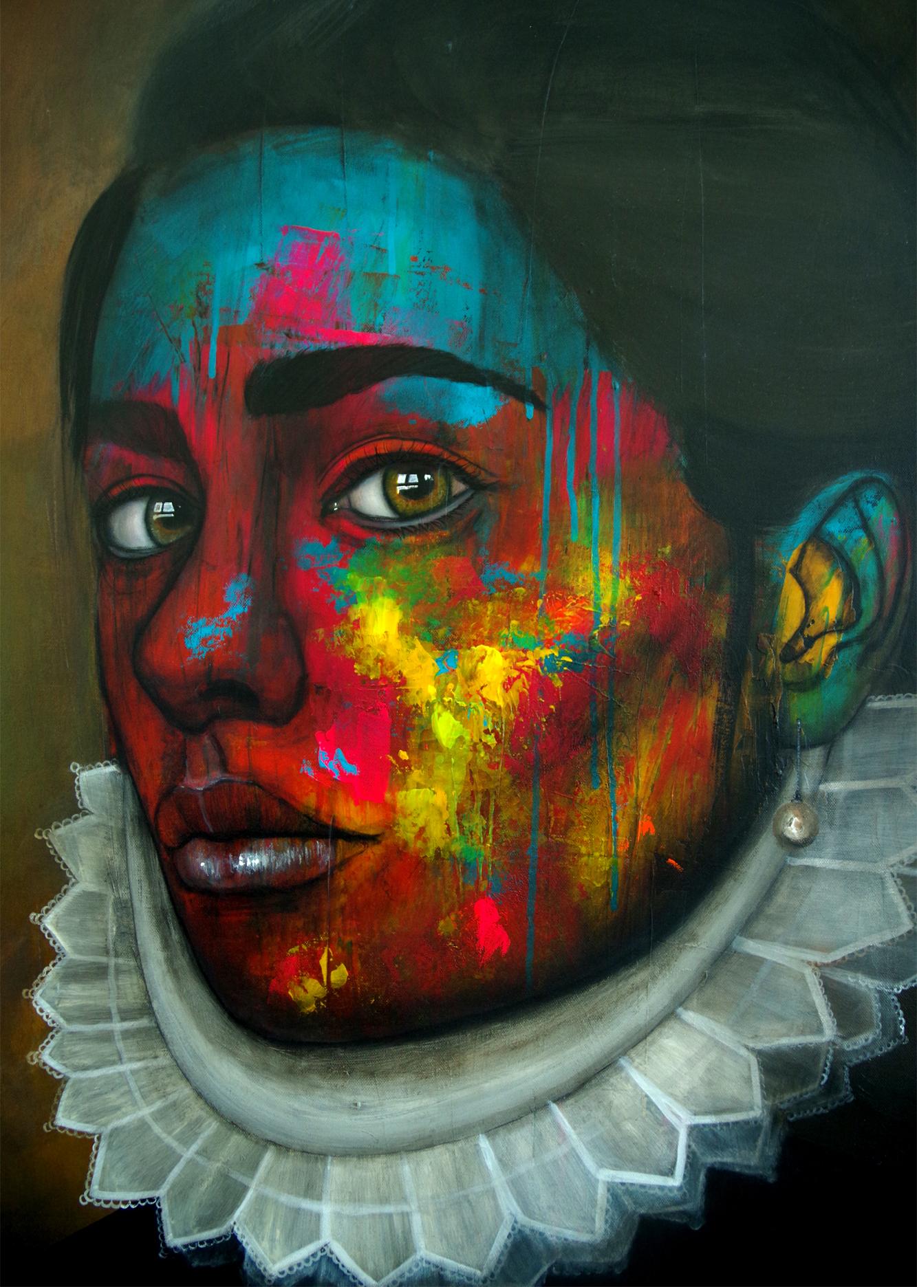 Portrait de femme entre renaissance et street art