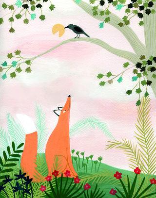 Le corbeau et le renard, illustration pour Fleurus Editions