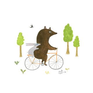 A vélo, illustration pour Hakka kids, vêtements pour enfants