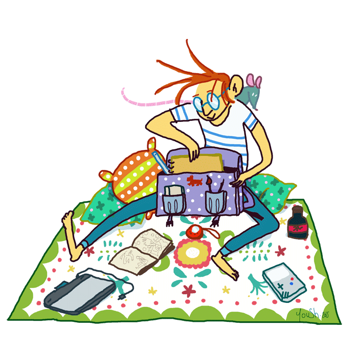 YoushBD illustration, je range mes affaires dans un cartable- rentrée scolaire